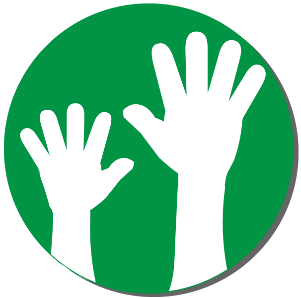 Green circular button with raised hands on it to volunteer for Roy Freiman for Assembly
