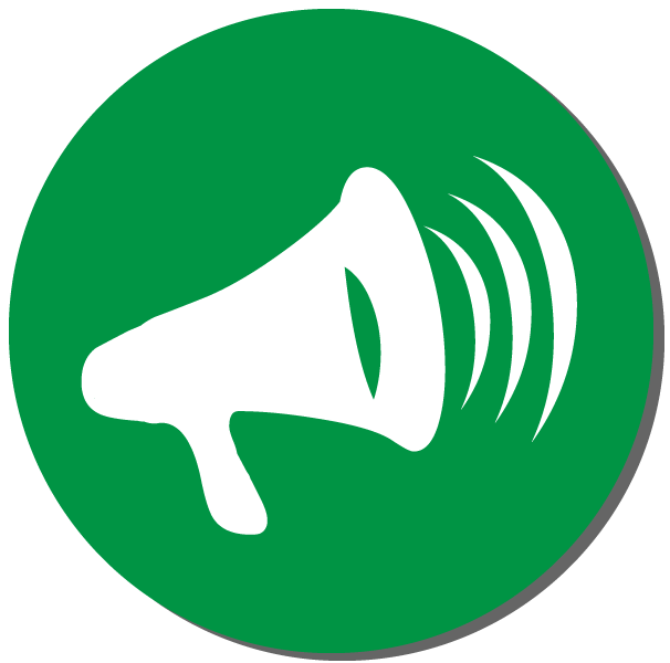 Green circular button with a megaphone on it to spread the word about Roy Freiman for Assembly