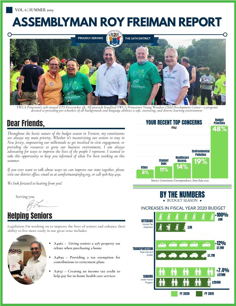 Assemblyman Roy Freiman Report - a quarterly newsletter.
