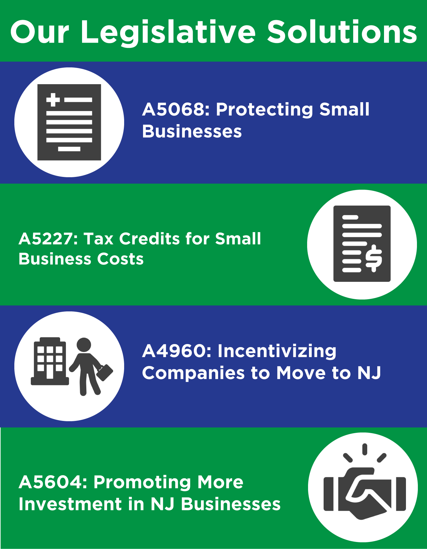 Legislative solutions from Roy Freiman for Assembly in New Jersey