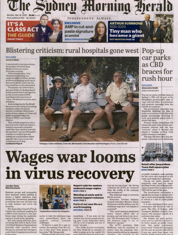 Front page of the Sydney Morning Herald