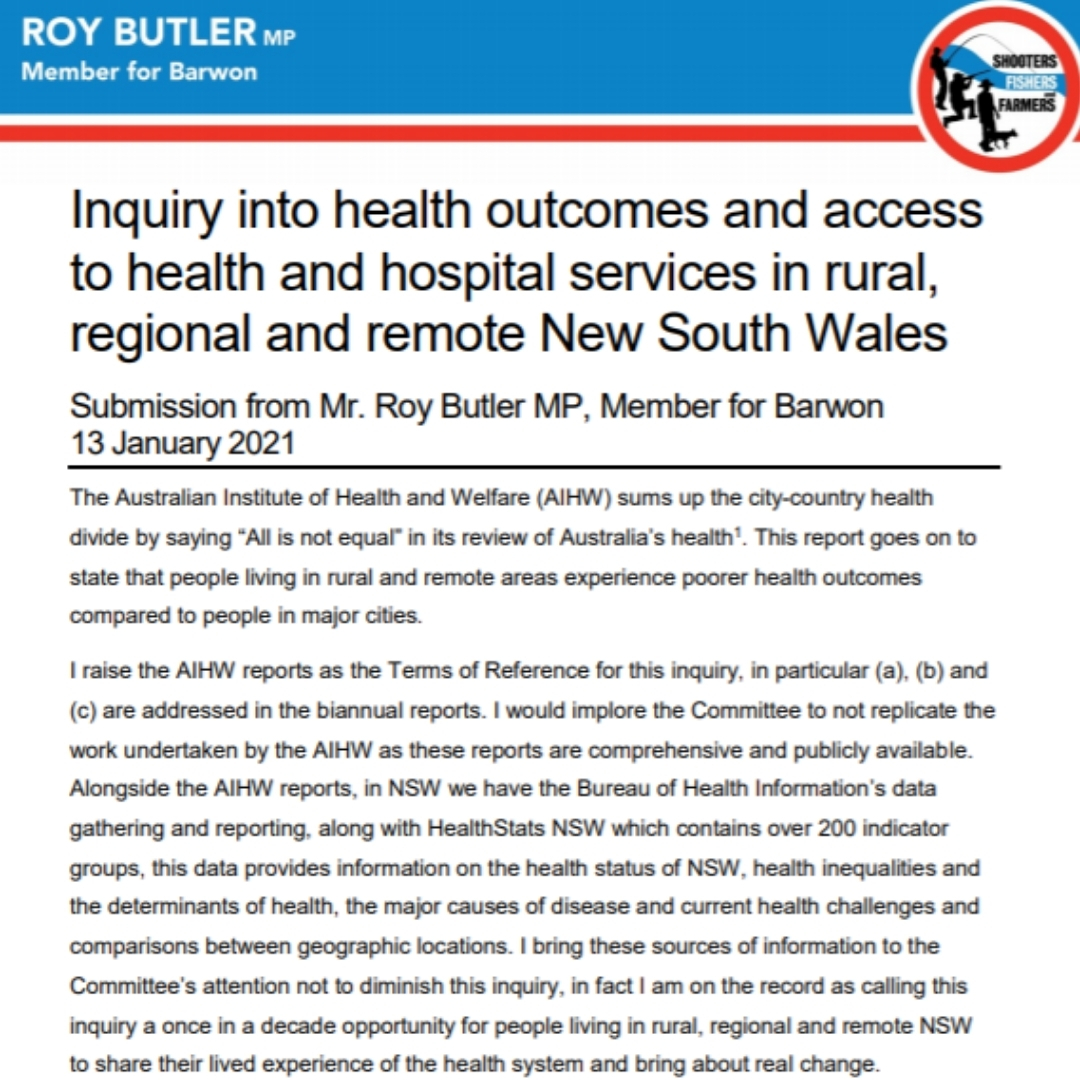 Health Inquiry Submission Image