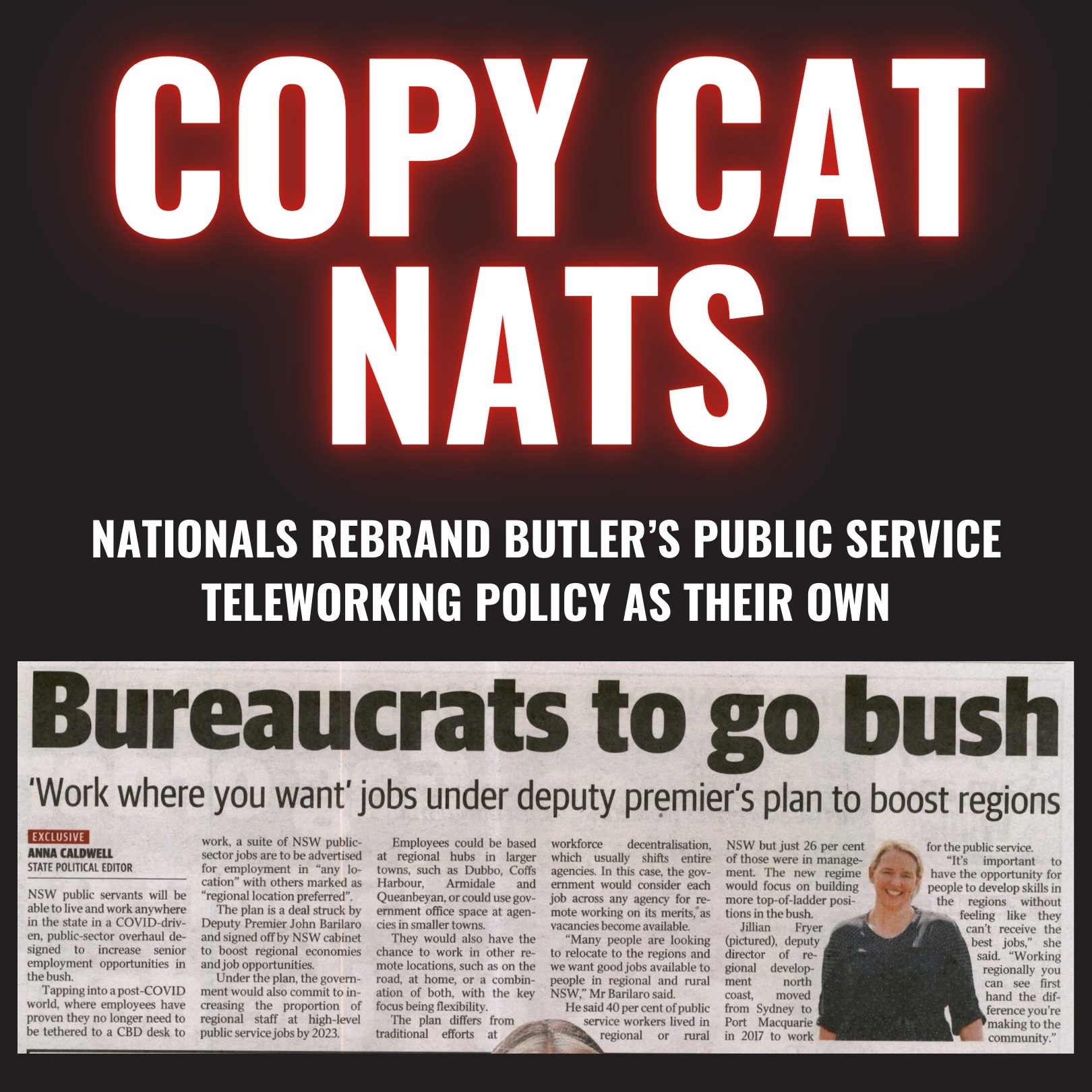 COPY CAT NATS - Nationals rebrand Butler's Public Service Teleworking policy as their own Image