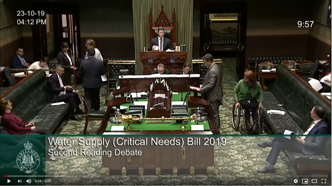 Bills - Second Reading Debate - Water Supply (Critical Needs) Bill 2019  Image