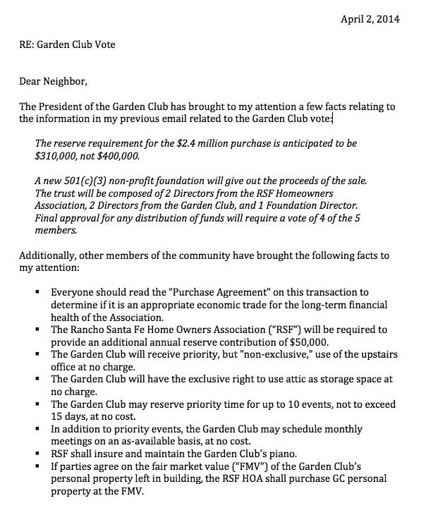 Rancho Santa Fe Garden Club Building Purchase Letter