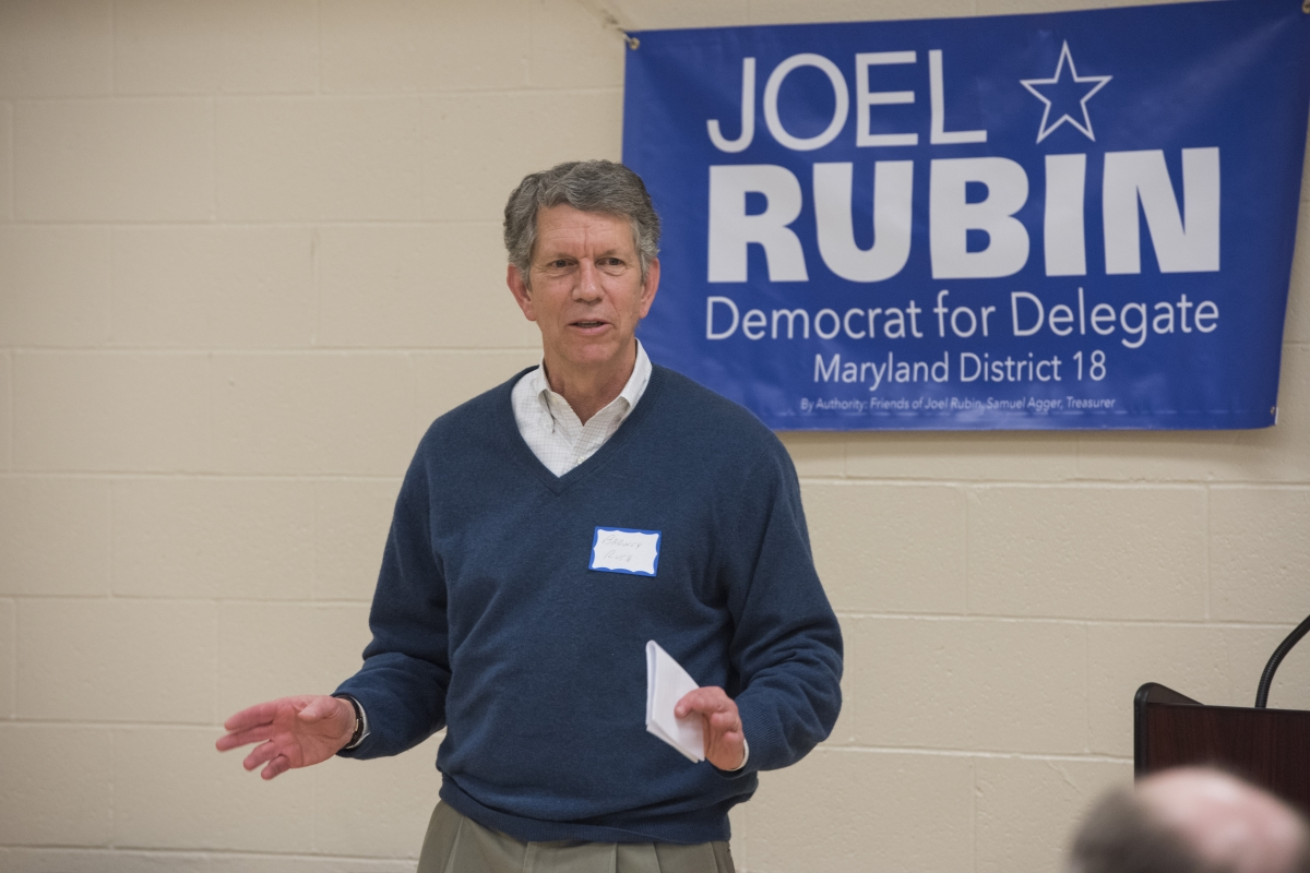 Barney Rush speaks in support of Joel's Campaign at the Rally for Rubin on February 25