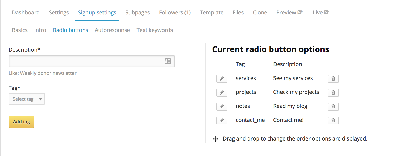 NationBuilder tag radio button example redirect