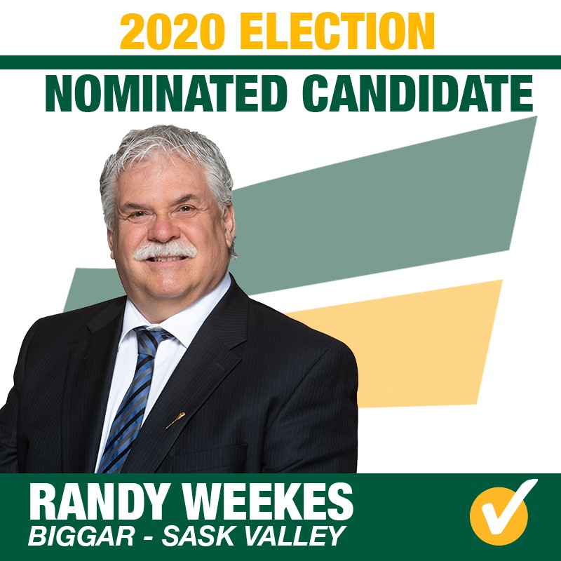 Randy Weekes Acclaimed as the Saskatchewan Party Candidate for the Constituency of Biggar-Sask Valley for 2020 Provincial Election