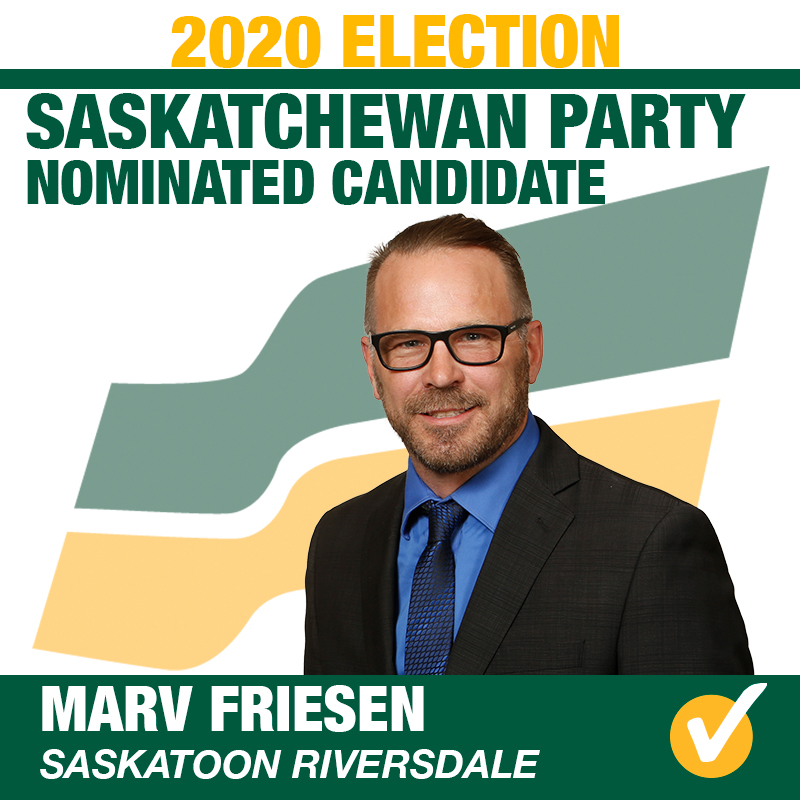 Marv Friesen will represent Saskatoon Riversdale for the 2020 Provincial Election