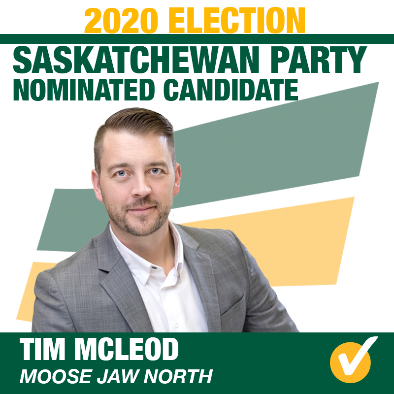 Tim McLeod will represent Moose Jaw North for the 2020 Provincial Election