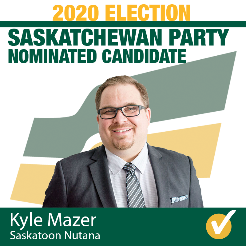 Kyle Mazer Acclaimed as Saskatchewan Party Candidate for Saskatoon Nutana