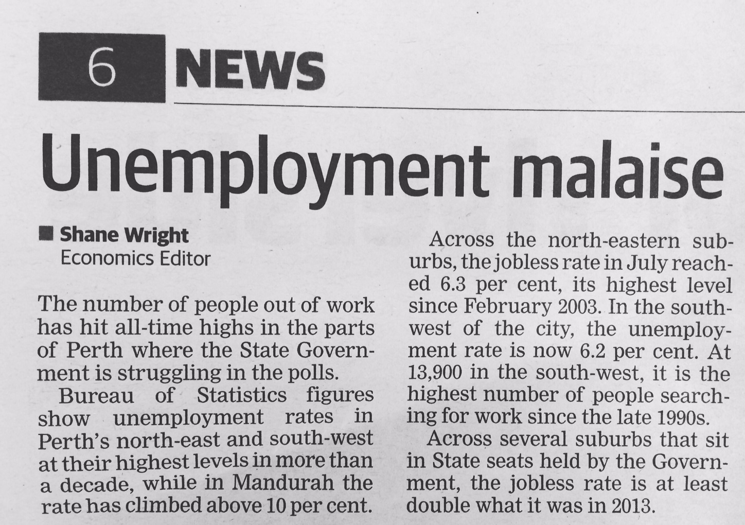 The West on unemployment page6 26 Aug 2016.JPG