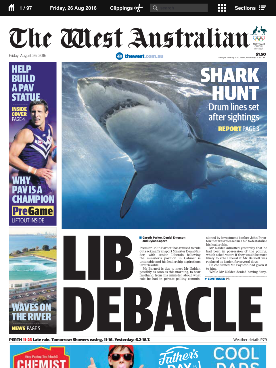 Liberals shamed in West Australian front page 23 Aug 2016.PNG