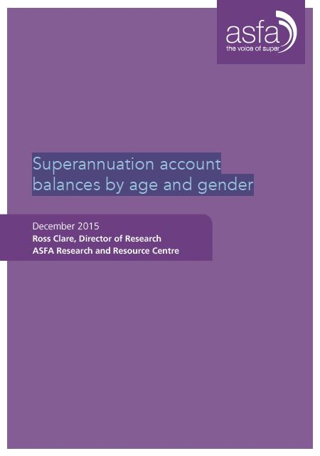 Association of Superannuation Funds of Australia Gender and Age December 2015