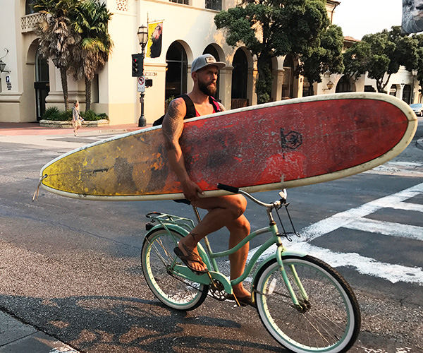 surfboard on bike