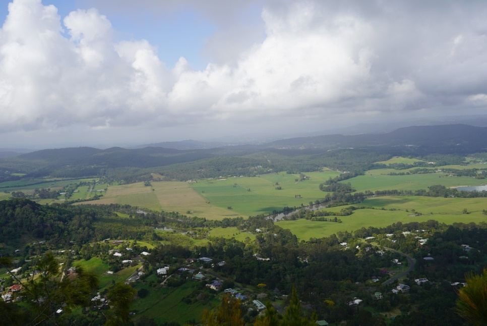 View from Mt Ninderry where the 185,000m2+ facility is to be located in the centre (Oct 2018). Contributed