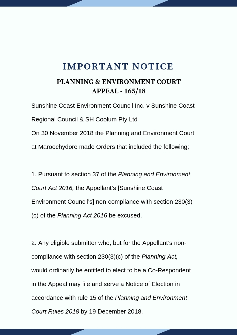 Important Notice-P&E Appeal 165/18