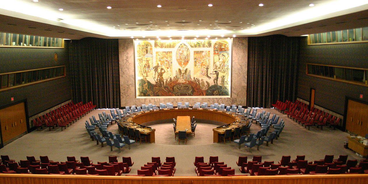 Sala de reuniones del Consejo de Seguridad de las Naciones Unidas.