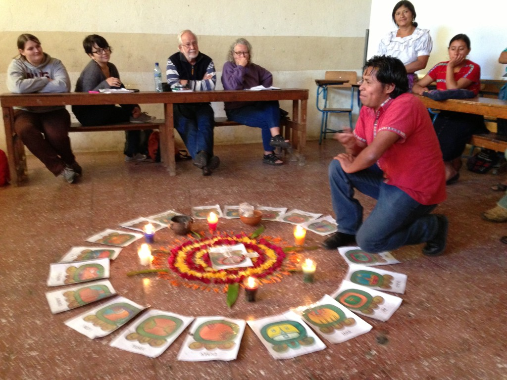 Umberto Velasquez of the Committee in Defense of Mother Earth explains the circle of life. Photo by Kairos/UCC Guatemala Study Tour