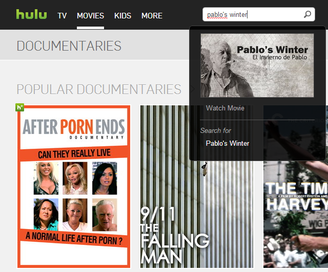 Screenshot of Hulu website