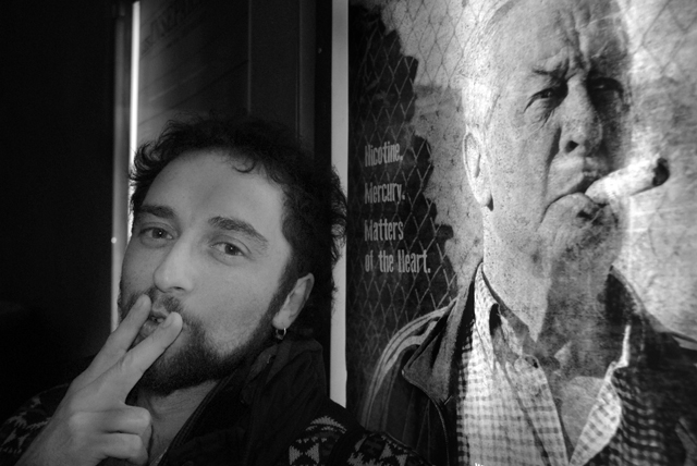 Director Chico Pereira and poster of PABLO'S WINTER