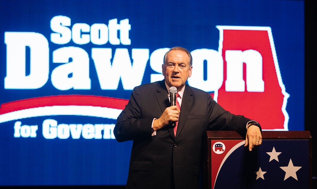 Mike Huckabee speaks to supporters at Dawson For Governor Kickoff Rally in Pelham