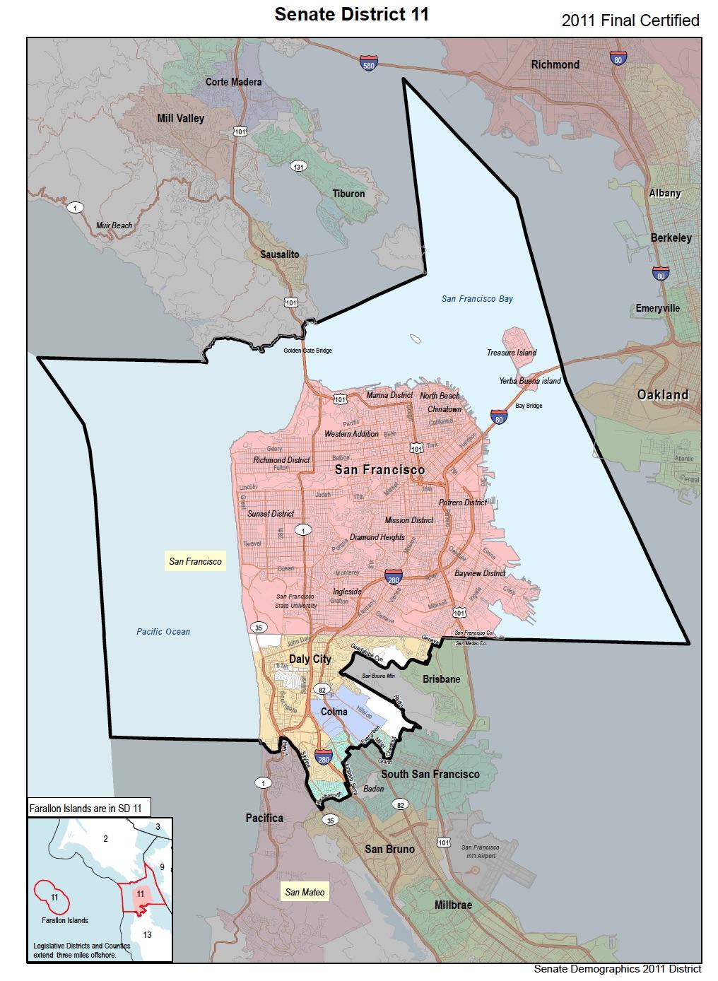 CA State Senate District 11 San Francisco & San Mateo Co. on