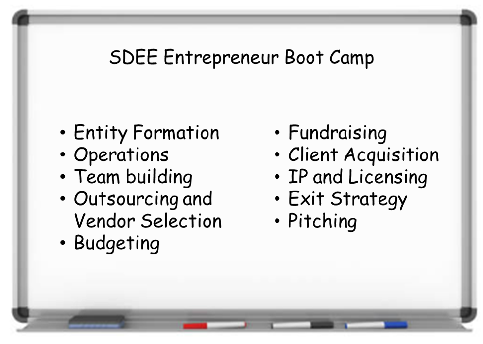 SDEE Entrepreneur Boot Camp Topics
