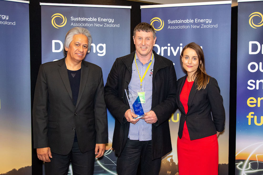 Best Small Business - Clayton McNae from McNae Electrical, with SEANZ Chair Brendan Winitana and Keisha Noronho from sponsor, Fronius Inverters