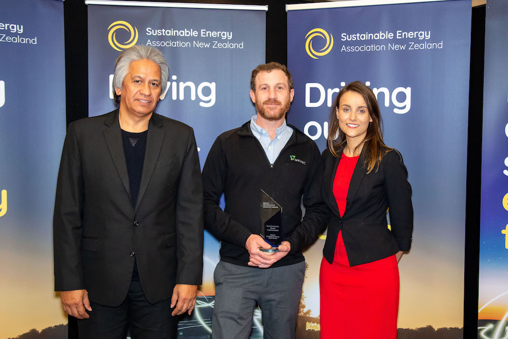 Best Community Energy Project Winner-Micah Sherman, Infratec, with SEANZ Chair Brendan Winitana and Keisha Noronho from sponsor, Fronius Inverters