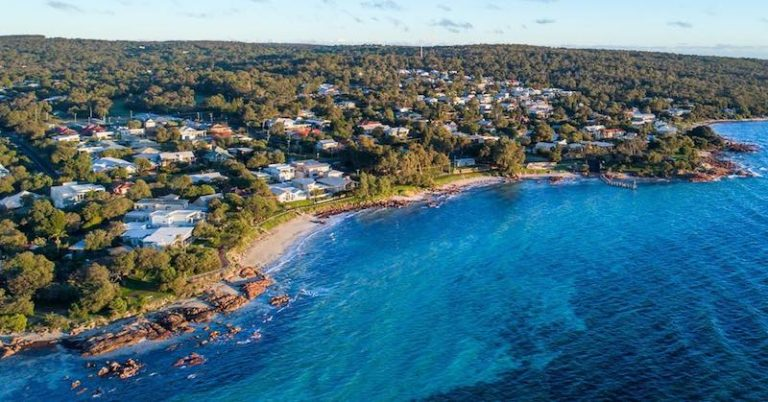 An aerial photo of the coastal town of Dunsborough