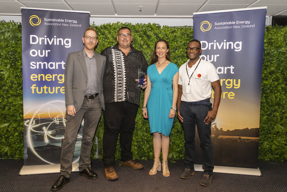 Dougal Gillman (Fronius), Corrie Scheepers (Infratec, Rebecca George (SEANZ) and Paul Makumbe (Sunergise)
