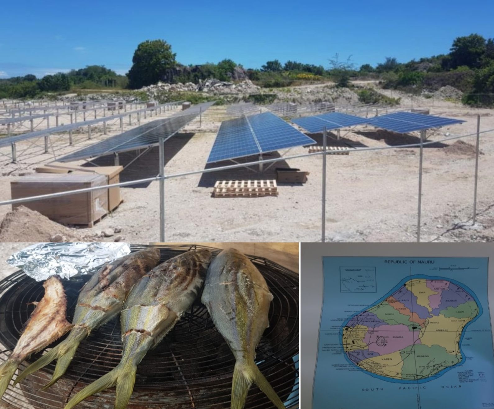 Solar Panels, fish cooking and a map of Nauru