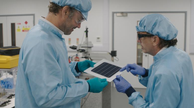 Members of UK company Oxford PV which is working with pervoskite to generate solar energy