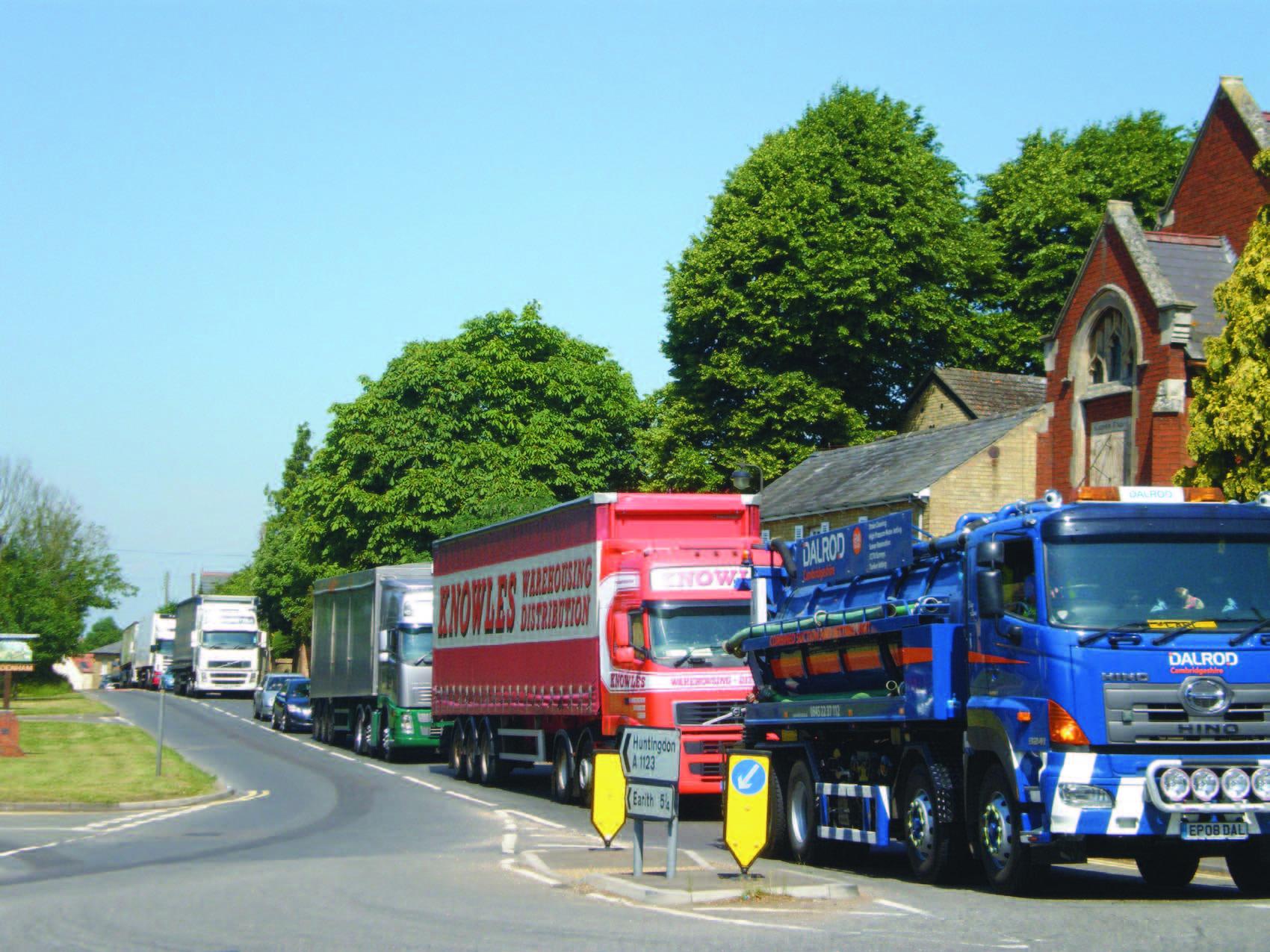 HGVs queuing through Haddenham