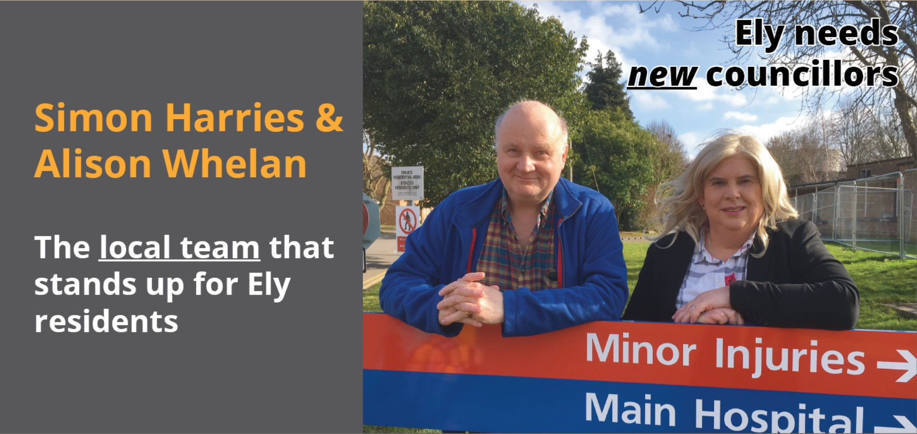 Alison Whelan and Simon Harries your Ely North Candidates