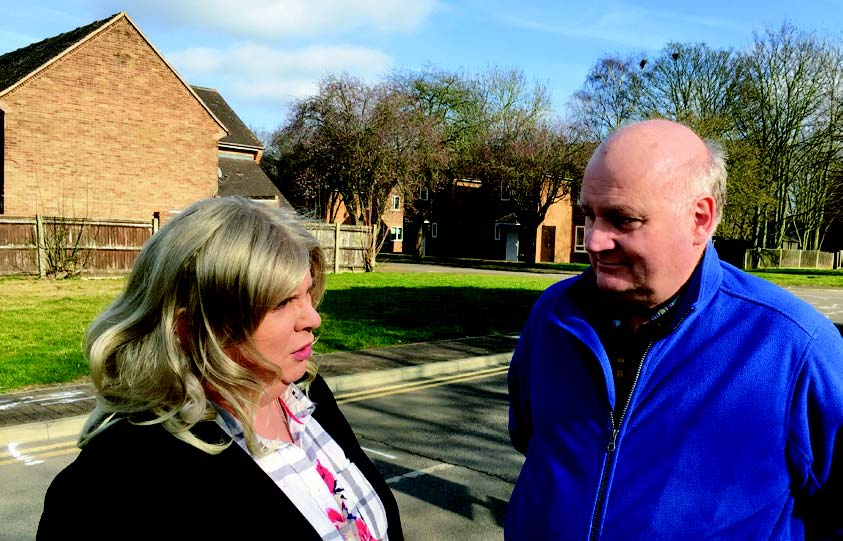 Simon Harries and Alison Whelan discussing affordable homes near Princess of Wales hospital in Ely