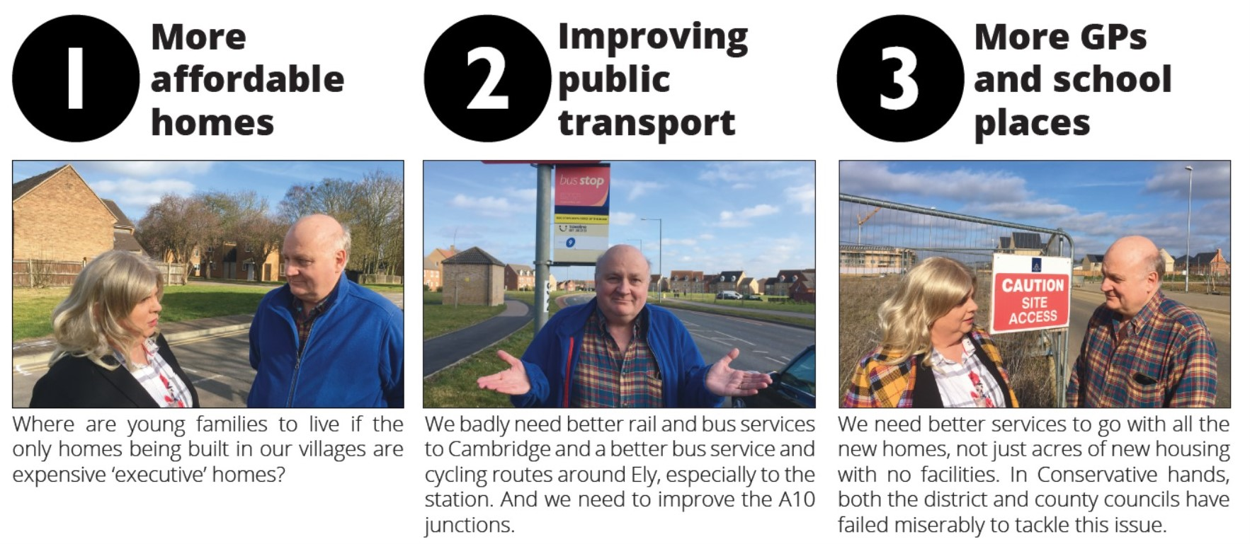 More Affordable Homes, Improving Public Transport and More GPs and School Places