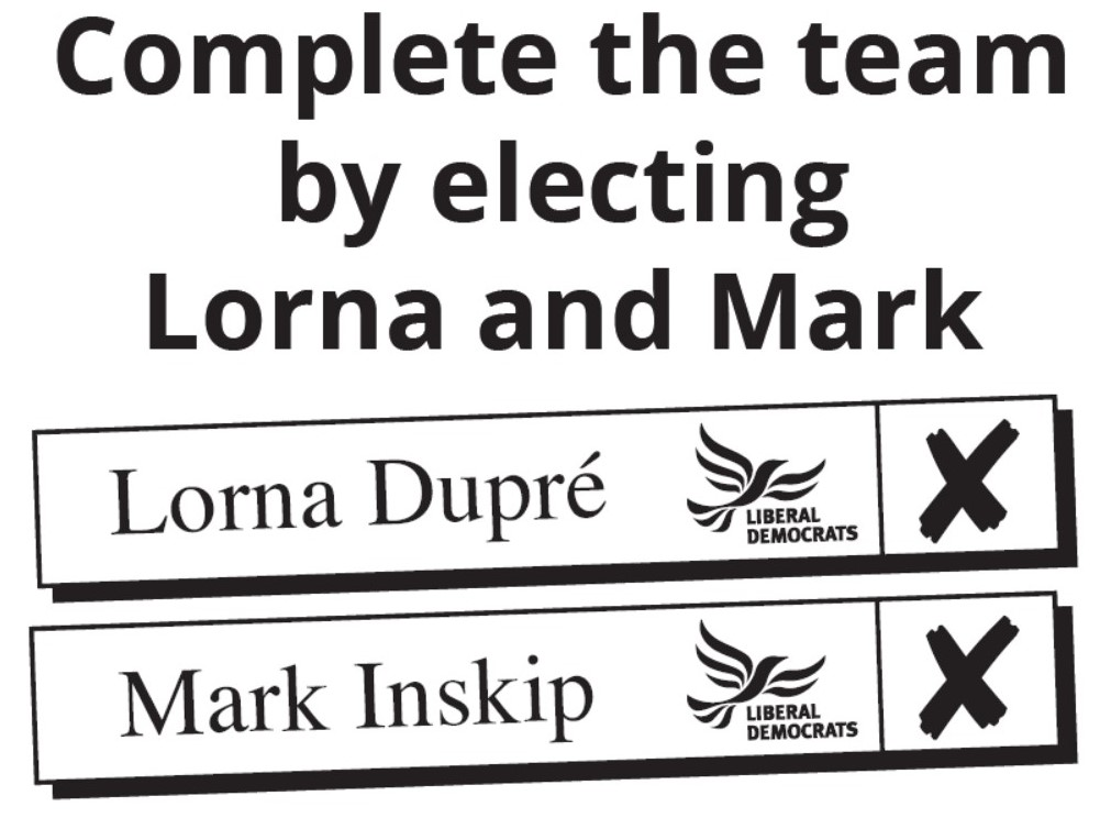 Vote Lorna Dupre and Mark Inskip on May 2nd 2019