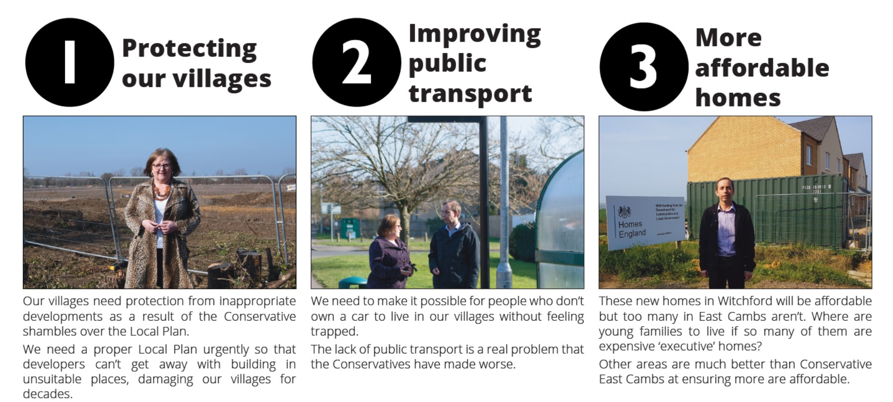 Protecting our villages, Improving Public Transport and More afordable homes