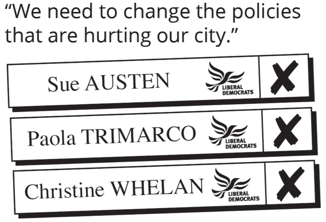 Vote Sue Austin, Paola Trimarco and Christine Whelan on May 2nd 2019