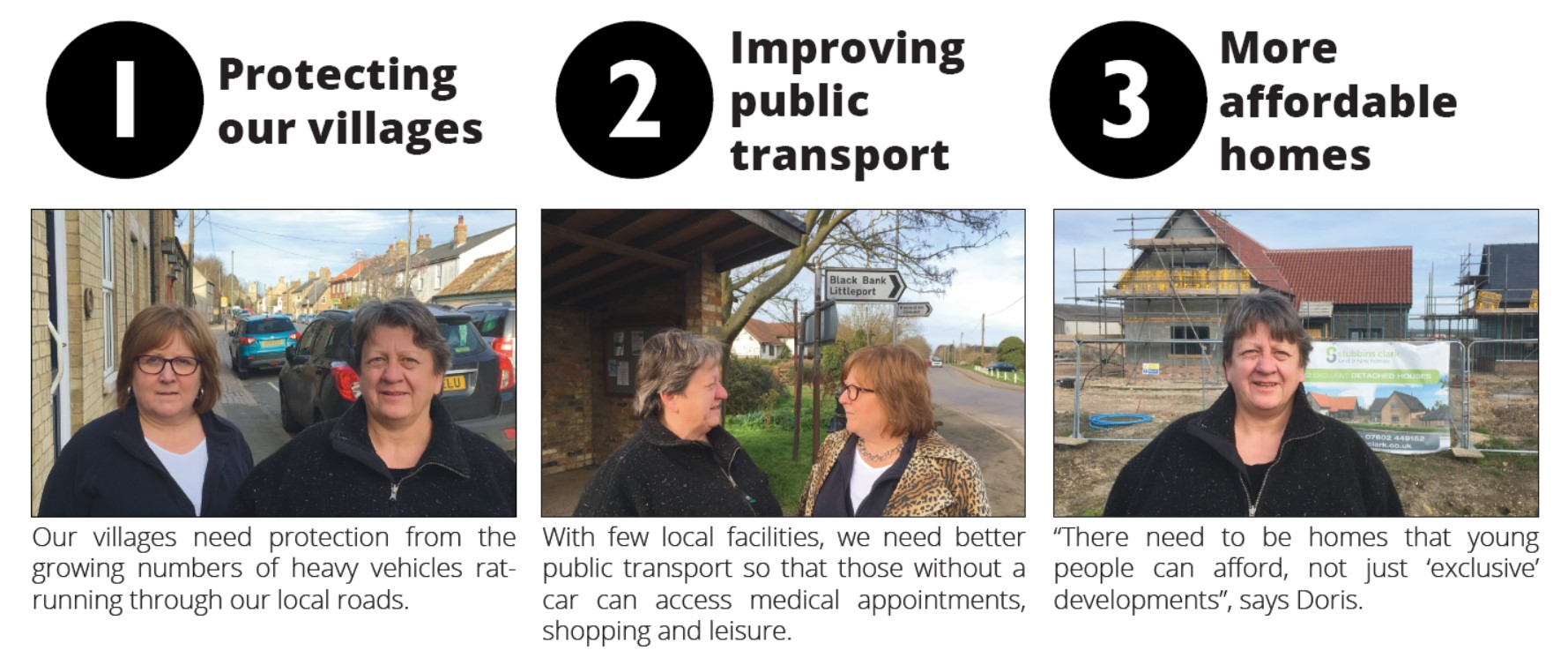 More Affordable Homes, Improving Public Transport and protecting our villages