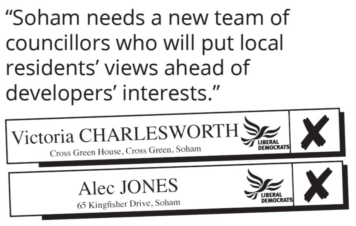 Soham North Ward - Vote Victoria Charlesworth and Alec Jones Liberal Democrat
