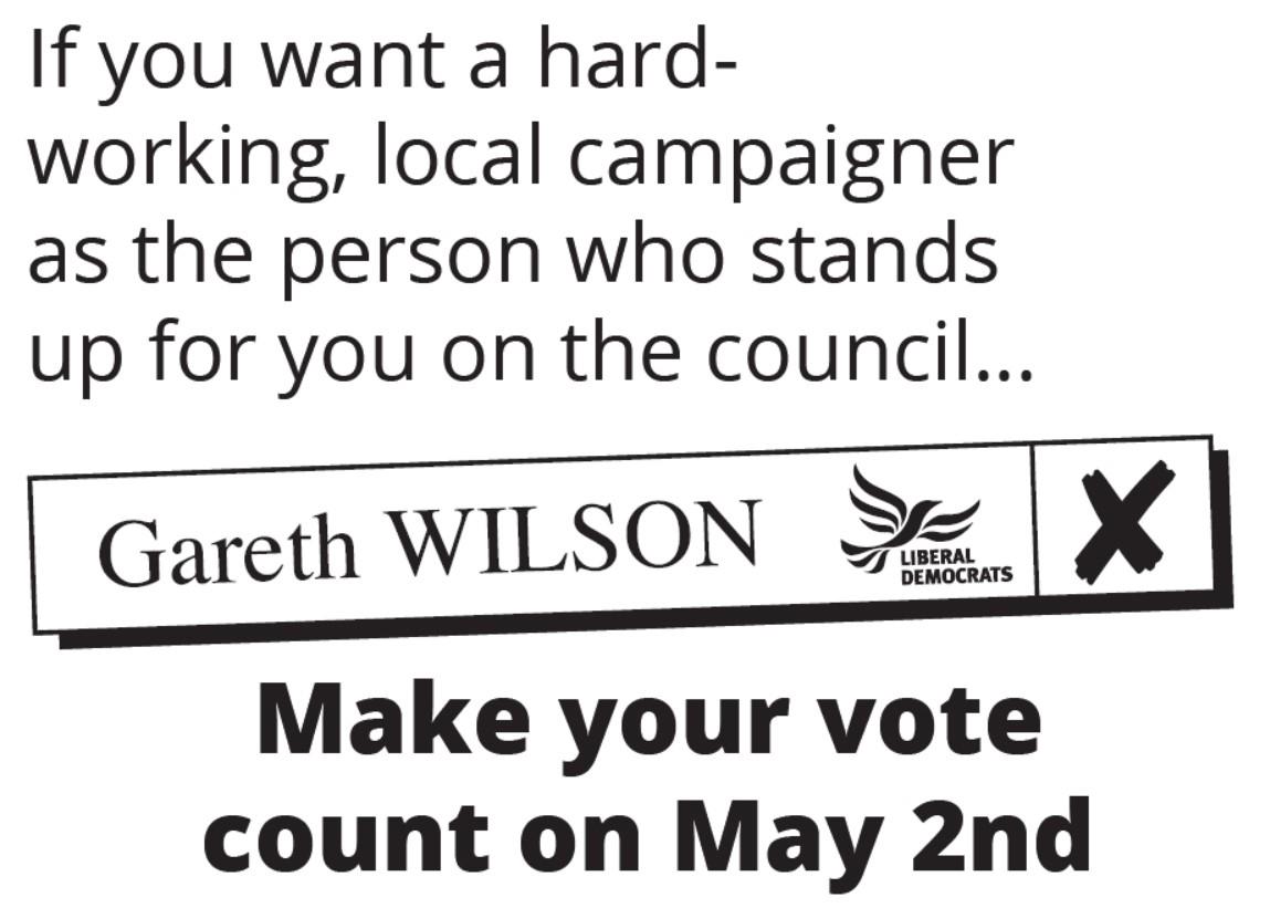 Haddenham Ward - Vote Gareth Wilson Liberal Democrat