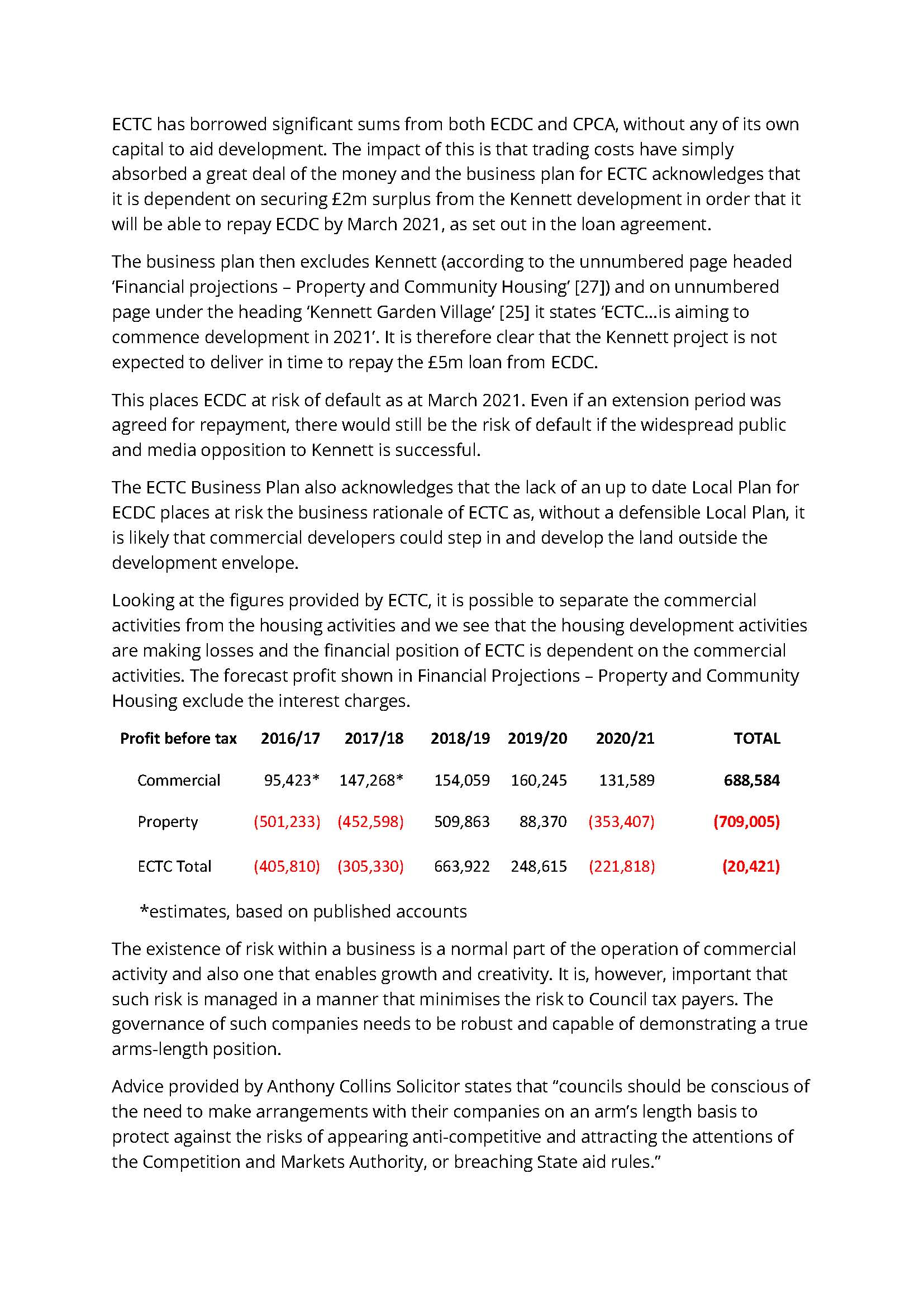 ECTC has borrowed significant sums from both ECDC and CPCA, without any of its own capital to aid development. The impact of this is that trading costs have simply absorbed a great deal of the money and the business plan for ECTC acknowledges that it is dependent on securing £2m surplus from the Kennett development in order that it will be able to repay ECDC by March 2021, as set out in the loan agreement. The business plan then excludes Kennett (according to the unnumbered page headed 'Financial projections – Property and Community Housing' [27]) and on unnumbered page under the heading 'Kennett Garden Village' [25] it states 'ECTC...is aiming to commence development in 2021'. It is therefore clear that the Kennett project is not expected to deliver in time to repay the £5m loan from ECDC. This places ECDC at risk of default as at March 2021. Even if an extension period was agreed for repayment, there would still be the risk of default if the widespread public and media opposition to Kennett is successful. The ECTC Business Plan also acknowledges that the lack of an up to date Local Plan for ECDC places at risk the business rationale of ECTC as, without a defensible Local Plan, it is likely that commercial developers could step in and develop the land outside the development envelope. Looking at the figures provided by ECTC, it is possible to separate the commercial activities from the housing activities and we see that the housing development activities are making losses and the financial position of ECTC is dependent on the commercial activities. The forecast profit shown in Financial Projections – Property and Community Housing exclude the interest charges. Profit before tax 2016/17 2017/18 2018/19 2019/20 2020/21 TOTAL Commercial 95,423* 147,268* 154,059 160,245 131,589 688,584 Property (501,233) (452,598) 509,863 88,370 (353,407) (709,005) ECTC Total (405,810) (305,330) 663,922 248,615 (221,818) (20,421) *estimates, based on published accounts The existence of