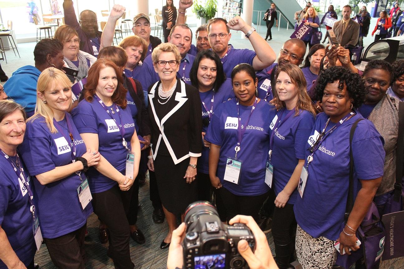 Premier Wynne with SEIU Healthcare members