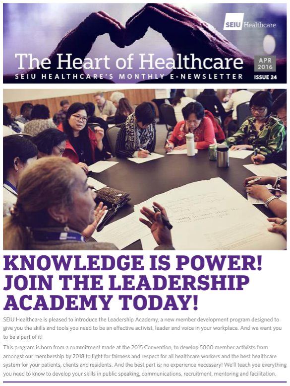 SEIU Healthcare April E-Newsletter