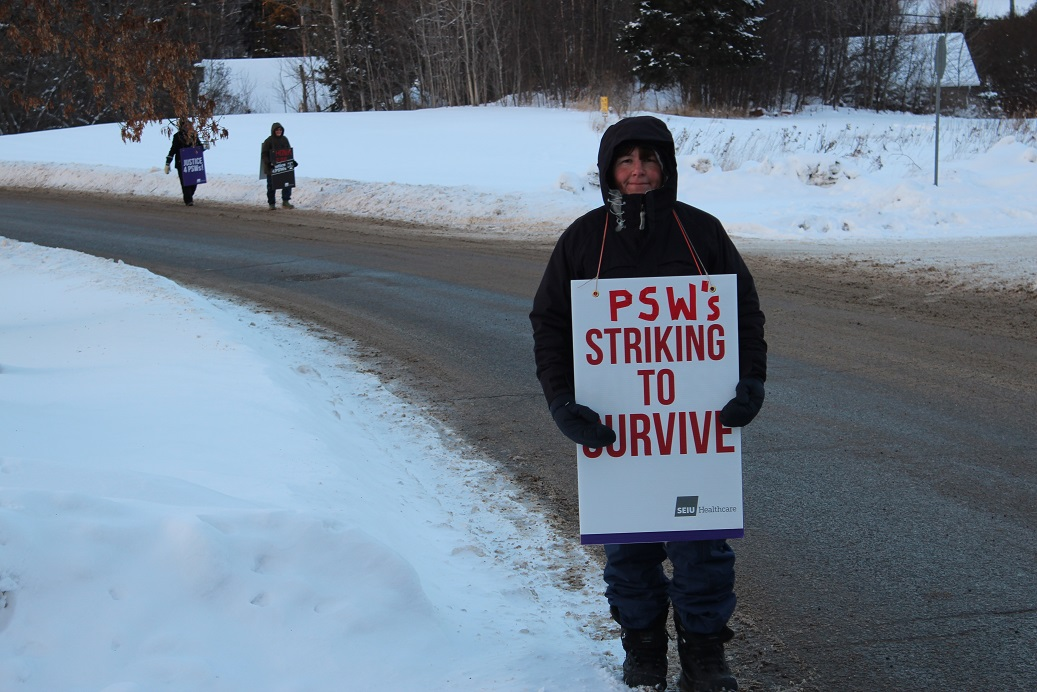 Personal support worker striking to survive