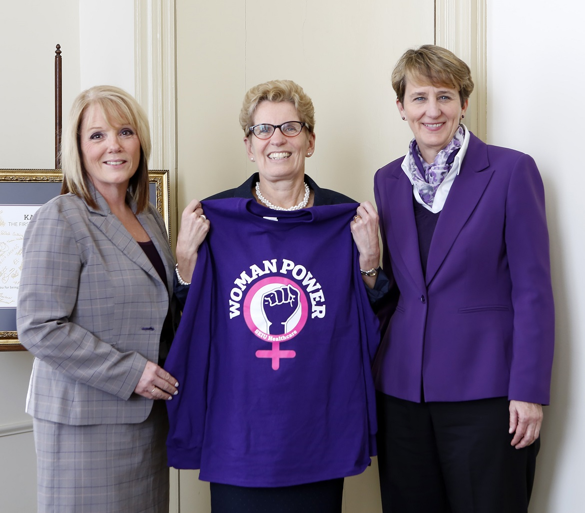 Sharleen Stewart, Premier Wynne, and Mary Kay Henry