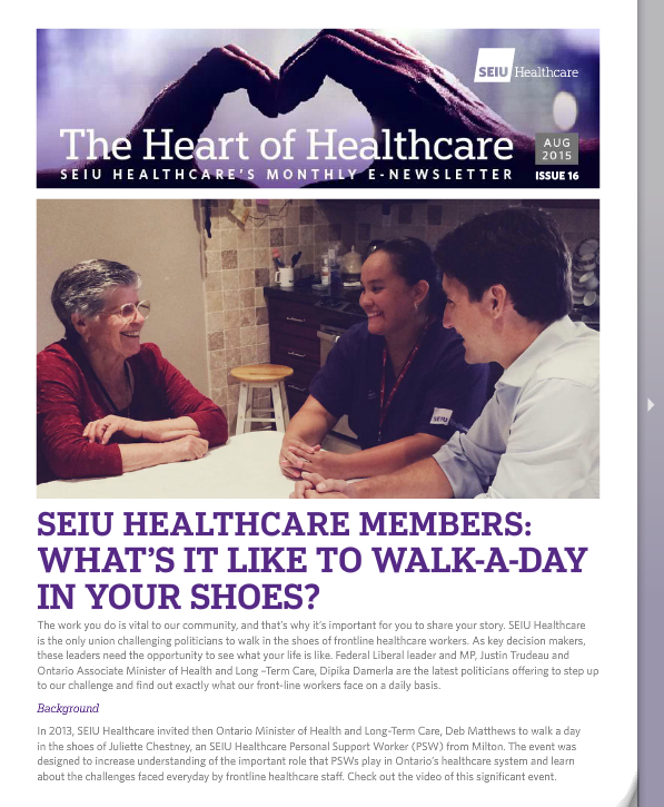 SEIU Healthcare August Newsletter 2015